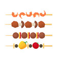 cartoon color kebab on wooden skewers set vector image vector image
