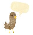 cartoon happy bird with speech bubble vector image vector image