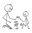 cartoon of father and son watching flowers and vector image vector image