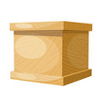 cartoon wooden box on a white background vector image vector image