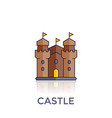 castle fortress icon on white vector image vector image