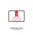 christ church on the background of an open bible vector image vector image