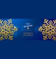 christmas and new year banner gold snowflake vector image vector image