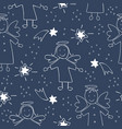 christmas seamless pattern with angels and stars vector image