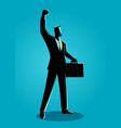 confident businessman raising his right arm vector image vector image