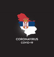 coronavirus in serbia and country flag inside vector image vector image