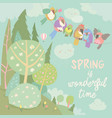 cute cartoon colorful birds and spring landscape vector image vector image