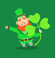 cute cartoon dwarf leprechaun with shamrock vector image