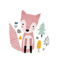 cute cartoon fox print childish print for nursery vector image vector image