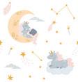 cute unicorn sleeping at cloud in hat vector image vector image
