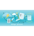 Design Process Banner Flat Concept vector image vector image