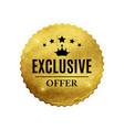 exclusive quality shiny golden label luxury badg vector image vector image