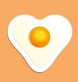 fried egg in heart shape breakfast vector image vector image
