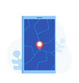 geo pin tag on mobile phone display gps vector image