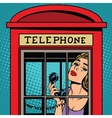 girl crying in the red telephone booth retro vector image