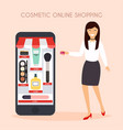 girl make shopping online from phone sale flat vector image vector image
