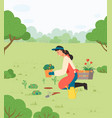 girl planting flowers in park with gardening tools vector image
