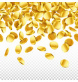 gold falling 3d coins on transparent background vector image vector image