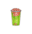 green and red bubble tea beverage in plastic cup vector image