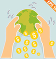 Hand holding earth with money - - EPS10 vector image vector image