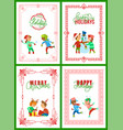 happy winter holidays christmas greeting set vector image