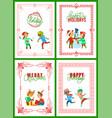 happy winter holidays christmas greeting set vector image vector image