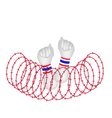 Human Hand Clenched Fist After Wire Barrier vector image
