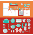 Kitchen Interior with Furniture and Set of Dishes vector image