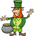 leprechaun with pot of gold vector image vector image
