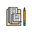 letter with pencil notes recipe flat color icon vector image