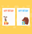 lined paper with cute wild animals set notebook vector image vector image