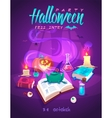 Magic book with frog Halloween cardposter vector image vector image