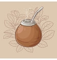 mate in calabash with bombilla vector image vector image