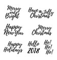 merry christmas card with calligraphy text vector image vector image