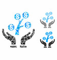 money tree care hands composition icon inequal vector image vector image