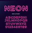 neon light modern font neon tube letters and vector image