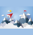paper plane flying on sky vector image vector image