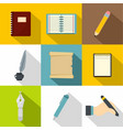 paper work icons set flat style vector image vector image