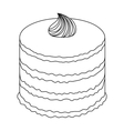 Purple cake icon in outline style isolated on vector image vector image