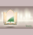 ramadam kareem text greeting card open book of vector image vector image