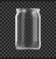 realistic empty glass jar isolated on dark vector image vector image