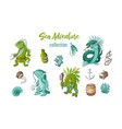 sea adventure cartoon characters and objects vector image vector image