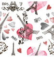 seamless background eiffel tower vector image vector image