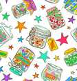 Seamless pattern of mason jars with greeting vector image
