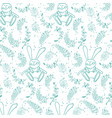 seamless pattern with leaves and a rabbit vector image