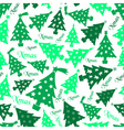 set of christmas green tree decoration seamless vector image