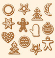 set of various christmas cookies vector image