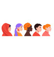 set with diverse female profiles with different vector image