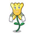 silent daffodil flower mascot cartoon vector image vector image