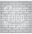 Slogan brickwall light organic food restaurant